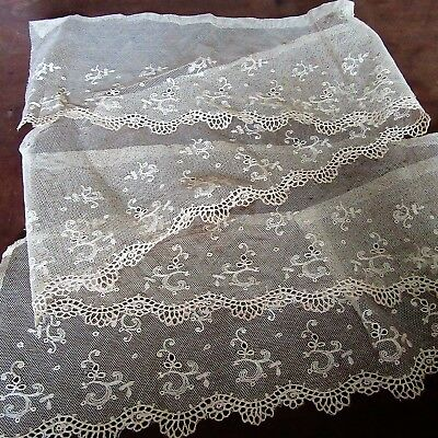 "Antique French Trim Embroidered Tambour NET/tulle Lace Cream 51"" x 5 1/8"" SHEER"