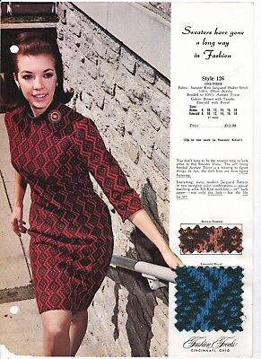 Fashion Frocks Sample Style 126 One Piece Sweater Knit DressWith Fabric Samples