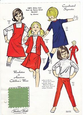 Coordinated Separates Young Girls Fashion Frocks Style Sample Sheet 70's Fabric
