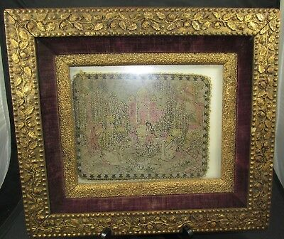 Rare Victorian Glass Beads Art Textile Tapestry & Antique Gilt ROSES Gesso Frame