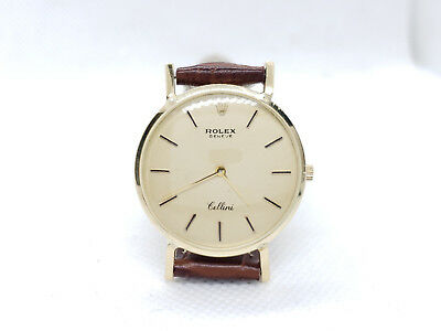 Vintage Rolex Cellini 14k Yellow Gold Leather Strap Wind Up 31 mm Watch