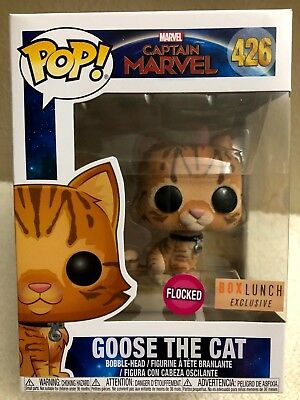 Funko Pop! Marvel Captain Marvel GOOSE THE CAT (Flocked) Box Lunch Exclusive NEW