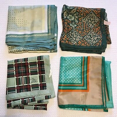 4 Scarves Square Green Poly Acetate Mr. Emperor Italy Retro Plaid Vtg Scarf Lot