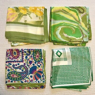 """4 Scarves 26""""-27"""" Square Acetate Rain Water Repellent Green Lime Vtg Scarf Lot"""