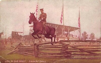 Life In Our Army Cavalry Drill c1910 Military Postcard Soldier Jumping Horse