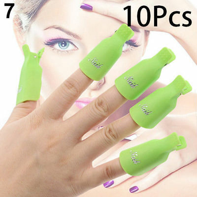 10PCS Green Plastic Nail Soak Off UV Gel Art Polish Remover Wrap Gelish Clip Cap