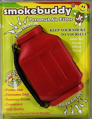 Smoke Buddy Junior Personal Air Purifier Cleaner Filter Removes Odor (Red)