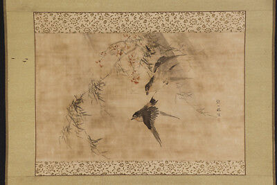 """JAPANESE HANGING SCROLL ART Painting """"Swallows"""" Asian antique  #E5657"""