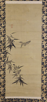 "JAPANESE HANGING SCROLL ART Painting ""Sparrow and Bamboo"" Asian antique  #E5666"