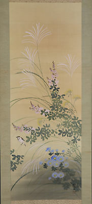 """JAPANESE HANGING SCROLL ART Painting """"Bird and Flower"""" Asian antique  #E5648"""
