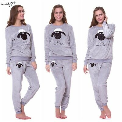 Women Warm Coral Fleece Pajamas Set Cute Animal Autumn Winter Home Sleepwear Pj