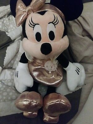 Disney Parks Minnie Mouse Rose Gold Plush Doll NEW With Tags
