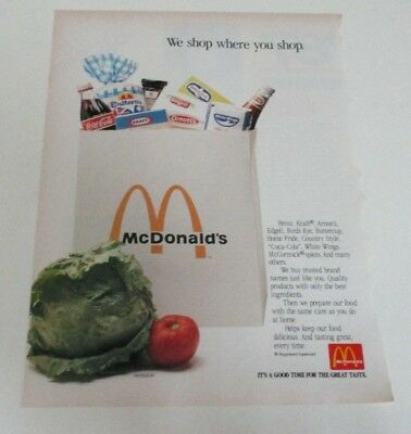 Vintage McDonald's Advertisement - 'Cleo' Magazine - One Page Ad - Nov. 1987