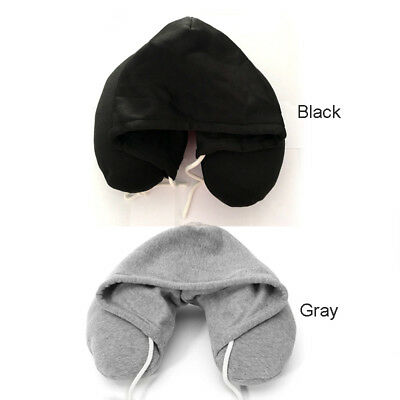 Useful Hoodie Neck U Shaped Pillow Cushion for Airplane Travel Car Rest Sleeping
