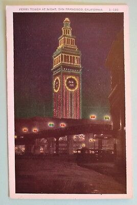 Vintage postcard of night scene of San Francisco Ferry Building, postally unused