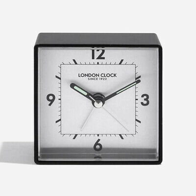London Company Particle Silent Sweep Black Mantel Clock 8.5x8.5cm *FREE DELIVERY