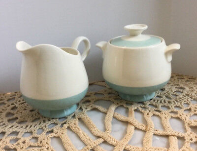 MCM Creamer and Sugar Bowl with Lid in Aqua Robins Egg Blue and Ivory