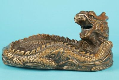 Vintage Chinese Bronze Statue Ashtray Dragon Sacred Home Decor Gift Collection