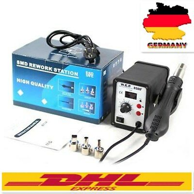 WEP 858D+700W Soldering Station SMD Hot Air Rework Gun Tool 3 Nozzles 220V DHL