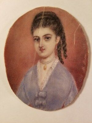 Nice Antique French 19th C. Victorian Portrait Miniature Painting by M. MOULIN