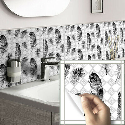 10pcs Black White Feather Self-adhesive Bathroom Kitchen Wall Stair Tile Sticker