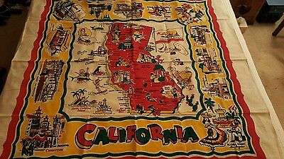 Vintage Mid Century California State Map Souvenir Tablecloth New Old Stock
