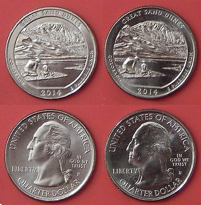 Brilliant Uncirculated 2014 P & D US Great Sand Dunes 25 Cents From Mint's Rolls