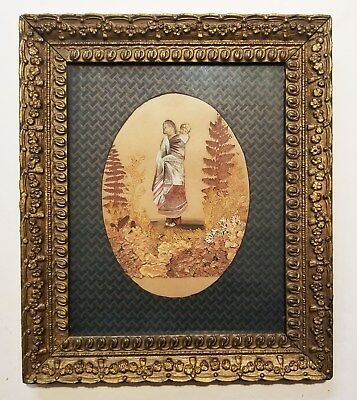 Rare Unusual Antique Painting Victorian NATIVE AMERICAN INDIAN Woman w/ Papoose