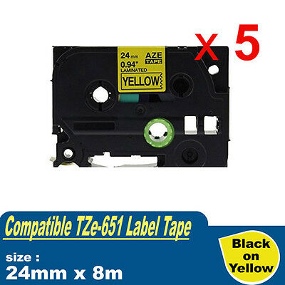 5x Laminated Label Tape For Brother TZe-651 TZ-651 P-Touch Black On Yellow 24mm