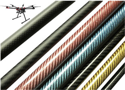 """Dia 7-15mm L:50cm/20"""" 3K Carbon Fiber Tube Pipe Glossy Surface Roll Wrapped UK"""