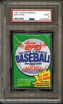 1981 Topps Baseball Unopened Wax Pack PSA 9