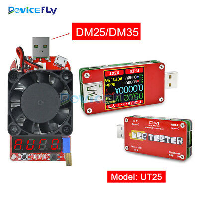 DM25 DM35 USB Intelligent Electronic Load Resistor UT25 Voltage Current Tester