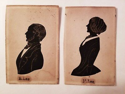 Great Pair c1835 Antique Georgian British Cutout Silhouettes Miniature Portraits