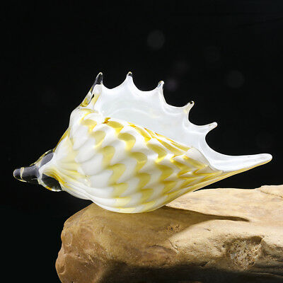 Crystal Conch Handmade Glass Hand Blown Shell Art Decor Yellow and White Gift