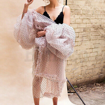 Women Puff Sleeve Tulle Lace Dress Long Organza Jacket Wave Point Flouncing Coat