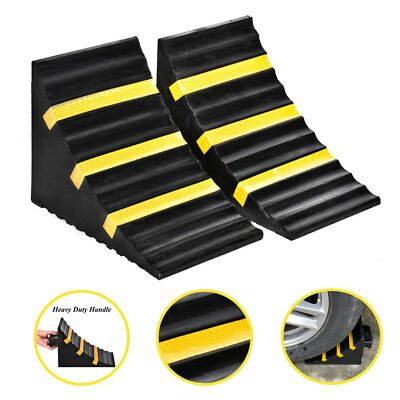 2 Pack Extra Large Heavy Duty Rubber Solid Wheel Chock Block W/ Handle