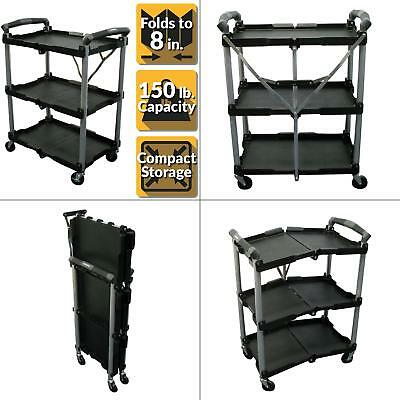 3-Shelf Collapsible 4-Wheeled Multi-Purpose Utility Cart in Black NEW