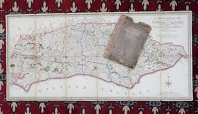 1799 Faden Gream Sussex Antique County Map with Slipcase Brighton Lewes Hastings