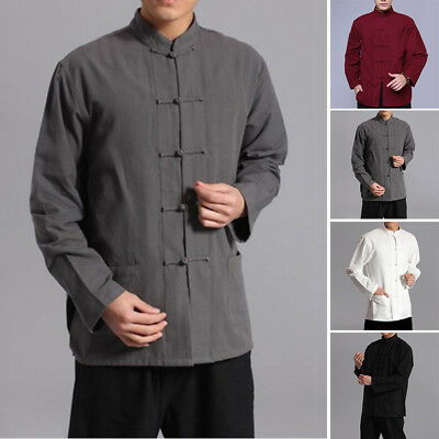 0976c89cddaf Hommes Chemise Style Chinois Lin et Coton Chemisier Manches Longues Kung Fu