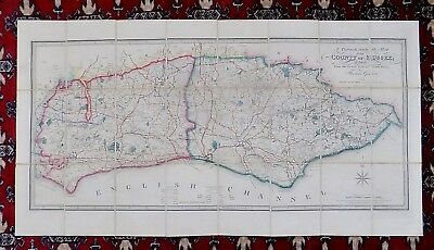 c1850 Wyld Gream Sussex Antique County Map Chichester Brighton Lewes Hastings