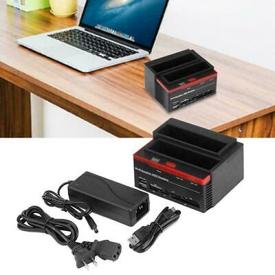 "Dual Slots SATA IDE Hard Drive Docking Station Card Reader For 2.5""/3.5"" HDD US"