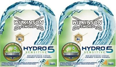 Wilkinson Sword Hydro 5 Sensitive Razor Blades 2 x 4 Packs Mens Shaving Genuine