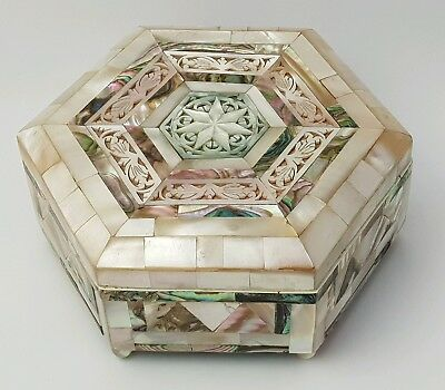 Vintage Mother Of Pearl Hexagon Jewellery Box