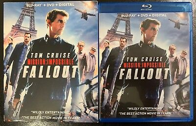 Mission Impossible Fallout Blu Ray Dvd 3 Disc Set + Slipcover Sleeve Free Shipin