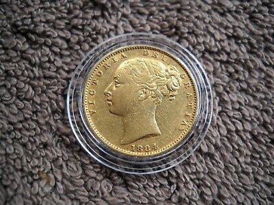 GOLD FULL SOVEREIGN 1884 Victoria Young Head Melbourne Mint in ChVF+(45) Cond.#2