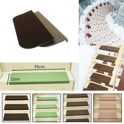 UK DIY Stair Tread Carpet Mats Step Staircase Non Slip Mat Protection Cover Pads