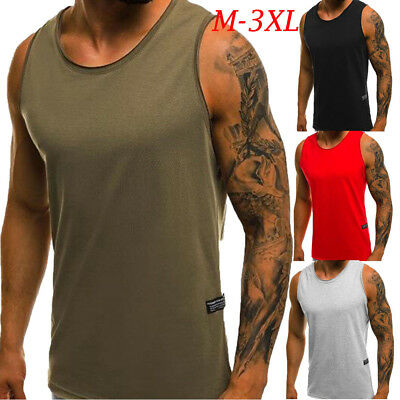 Mens Sleeveless Bodybuilding Tank Tops Gym T-Shirt Muscle Sports Fitness Vest AU