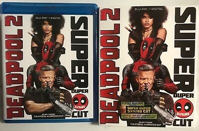 Marvel Deadpool 2 Super Duper Cut Blu Ray 2 Disc Set +Slipcover Sleeve Free Ship