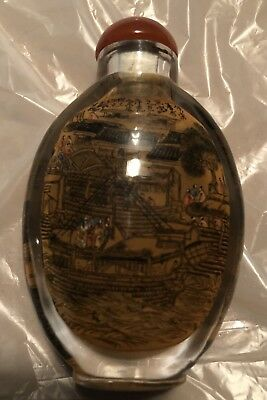 Rare)Chinese Hand Painted Boat&Village Way Of Life Snuff Bottle One Of It's Kind