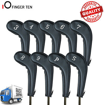 Golf Club Iron Head Covers Long Neck 9 Pack Zipper with NUMBERS ON BOTH SIDES